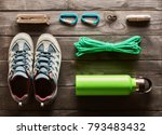 travel items for hiking tourism ... | Shutterstock . vector #793483432