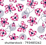 plaid hearts daisies butterfly... | Shutterstock .eps vector #793485262