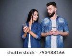 a beautiful modern couple in... | Shutterstock . vector #793488166