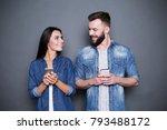 beautiful smiling modern couple ... | Shutterstock . vector #793488172