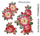 Stock photo bouquet of roses flowers set of watercolor red roses 793488652