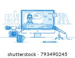 workplace of blogger or video... | Shutterstock .eps vector #793490245