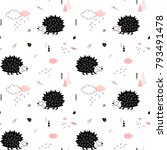 little hedgehog walking in the... | Shutterstock .eps vector #793491478