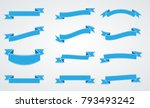 blue vintage ribbon collection. ... | Shutterstock .eps vector #793493242