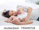 mother and her baby son ... | Shutterstock . vector #793494718