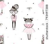 cute little girls pattern ... | Shutterstock .eps vector #793497388