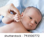 cute newborn baby hold mother... | Shutterstock . vector #793500772