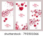 Happy Valentine's Day vertical banners set. Vector illustration. Holiday brochure design, greeting cards, love creative concept, gift voucher, invitation. Valentine tree with hearts. | Shutterstock vector #793501066