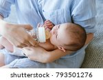feeding the newborn with a... | Shutterstock . vector #793501276