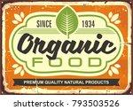 organic food retro sign poster... | Shutterstock .eps vector #793503526