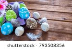 painted easter eggs with... | Shutterstock . vector #793508356
