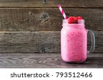raspberry smoothie in a mason... | Shutterstock . vector #793512466