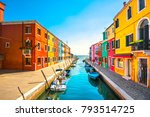 Burano Island Canal  Colorful...