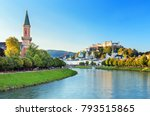 Beautiful view of Salzburg skyline with Festung Hohensalzburg and Salzach river in summer, Salzburg,Austria