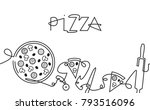 pizza menu background. one line ... | Shutterstock .eps vector #793516096