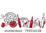 pizza menu background. hand... | Shutterstock .eps vector #793516138
