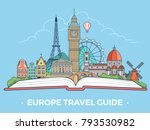 travel tourism type banner flat ... | Shutterstock .eps vector #793530982