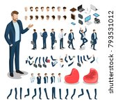 flat style isometric body parts ... | Shutterstock .eps vector #793531012