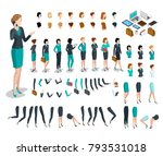 flat style isometric body parts ... | Shutterstock .eps vector #793531018