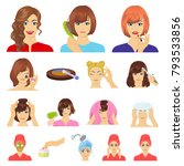 care of hair and face cartoon... | Shutterstock .eps vector #793533856