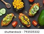 toasts with avocado  corn...   Shutterstock . vector #793535332