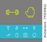 fitness icons set with old man  ...
