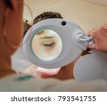 concentrated dermatologist... | Shutterstock . vector #793541755