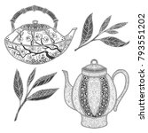 tea pot and tea leaf vector set....   Shutterstock .eps vector #793551202