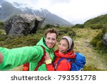 new zealand travel selfie happy ... | Shutterstock . vector #793551778