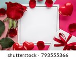 valentine card with rose and... | Shutterstock . vector #793555366