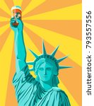 statue of liberty holding up a... | Shutterstock .eps vector #793557556