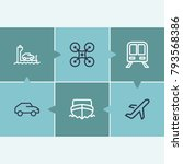 ferry and vehicle icon line set ...