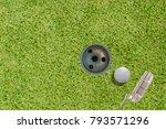 top views of golf ball putter... | Shutterstock . vector #793571296