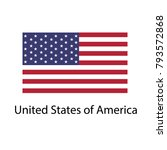 flag of usa with name icon.... | Shutterstock .eps vector #793572868