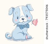 cute puppy with a flower...   Shutterstock .eps vector #793575046