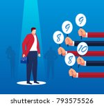 employees are reviewed | Shutterstock .eps vector #793575526