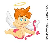 funny cartoon cupid with bow... | Shutterstock .eps vector #793577422