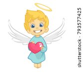 cute  baby cupid angel hugging... | Shutterstock .eps vector #793577425