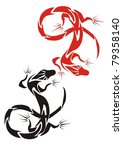 two lizards  red and black .... | Shutterstock .eps vector #79358140
