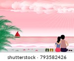 man and woman in love with... | Shutterstock .eps vector #793582426