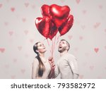 valentine couple. portrait of... | Shutterstock . vector #793582972