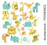 animals set. cute cartoon... | Shutterstock .eps vector #793585822