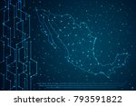 abstract mash line and point... | Shutterstock .eps vector #793591822