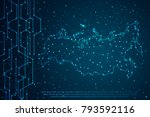 abstract mash line and point... | Shutterstock .eps vector #793592116