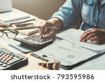 business accounting in office... | Shutterstock . vector #793595986