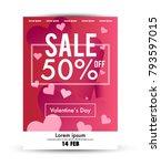 valentine's day sale poster... | Shutterstock .eps vector #793597015