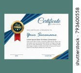 certificate template with... | Shutterstock .eps vector #793600558