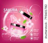 sakura nature cream serum ...   Shutterstock .eps vector #793601782