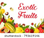 exotic tropical fruits poster... | Shutterstock .eps vector #793619146