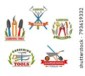 gardening tools icons set for... | Shutterstock .eps vector #793619332
